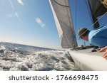 Sailor On Yacht In Ocean