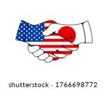 usa and japan handshake  trade...   Shutterstock .eps vector #1766698772