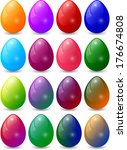 colorful egg set collection | Shutterstock .eps vector #176674808