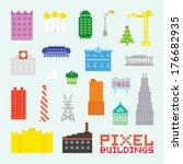 Pixel Art Isolated Buildings...