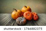 Autumn Pumpkins Still Life On...
