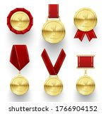gold medals with red rosette or ...   Shutterstock .eps vector #1766904152