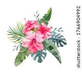 hand drawn watercolor hibiscus...   Shutterstock . vector #1766904992