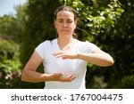 Woman Practice Tai Chi Chuan In ...