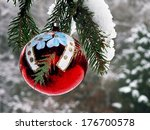 red christmas bulb on a... | Shutterstock . vector #176700578