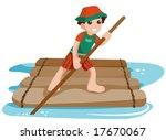 boy on raft   vector   Shutterstock .eps vector #17670067