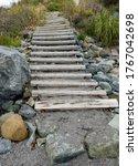 Wooden Beach Stairway. Thick ...