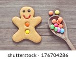 a single gingerbread man on a... | Shutterstock . vector #176704286