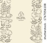 background with falafel in pita ... | Shutterstock .eps vector #1767056108