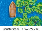 Topview Wooden Boat In The...