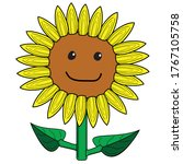 Cute Sunflower With Smile