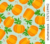 pumpkin and leaves seamless...   Shutterstock .eps vector #1767119942