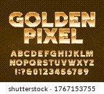 golden pixel alphabet font.... | Shutterstock .eps vector #1767153755