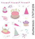 birthday party vector... | Shutterstock .eps vector #176716106
