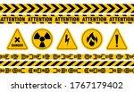 various danger ribbon and sign... | Shutterstock .eps vector #1767179402
