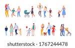 walking family set. happy...   Shutterstock .eps vector #1767244478