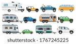 camping caravan set. travel car ...   Shutterstock .eps vector #1767245225