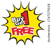 buy 1 get 1 free  sale tag ...   Shutterstock .eps vector #1767275018
