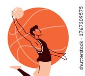 player man with ball jumping...   Shutterstock .eps vector #1767309575
