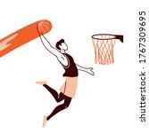 player man with ball jumping to ...   Shutterstock .eps vector #1767309695