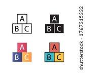 alphabet block icon vector...