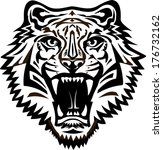 tiger face tattoo | Shutterstock .eps vector #176732162