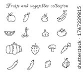 hand drawn fruits and... | Shutterstock .eps vector #1767339815