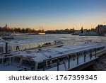 Snow Covered Water Taxis Docked ...