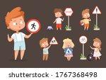 kids rules road. school people... | Shutterstock .eps vector #1767368498