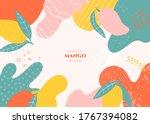 vector frame with doodle mango... | Shutterstock .eps vector #1767394082