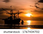 Silhouette Fishing Boat And...