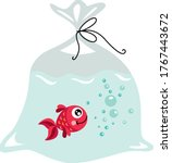 Red Fish Inside The Plastic Bag