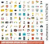 100 design essay icons set in...   Shutterstock .eps vector #1767473678