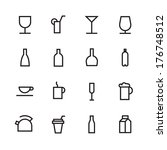 thin line icons for drinks....