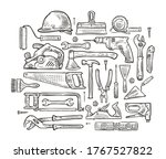 building tools hand drawn... | Shutterstock .eps vector #1767527822