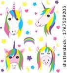 set of four cartoon rainbow... | Shutterstock .eps vector #1767529205