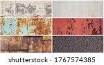 set of old rusty metal textures.... | Shutterstock . vector #1767574385