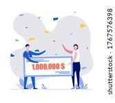 happy winners holding bank... | Shutterstock .eps vector #1767576398