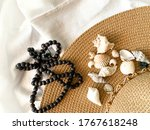 Beach Hat On A White Bed  A...