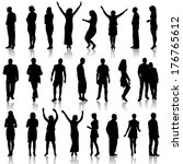 black silhouettes of beautiful... | Shutterstock .eps vector #176765612