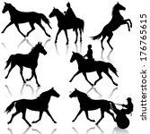 set vector silhouette of horse... | Shutterstock .eps vector #176765615