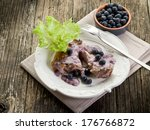 lamb rib with blueberries sauce | Shutterstock . vector #176766872