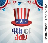 4th of july design with hat and ... | Shutterstock .eps vector #1767734165