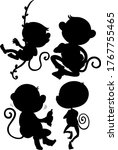 Set Of Monkey Silhouette...