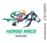 a jockey races his horse ... | Shutterstock .eps vector #1767768995