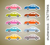 abstract colorful paper cars set | Shutterstock . vector #176778446