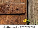Part Of Rusty Steel Door With...
