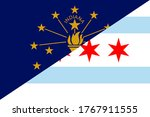 flags of indiana and chicago  | Shutterstock .eps vector #1767911555
