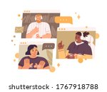 diverse team talking online... | Shutterstock .eps vector #1767918788