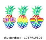Lgbt Rainbow Colors Pineapples. ...